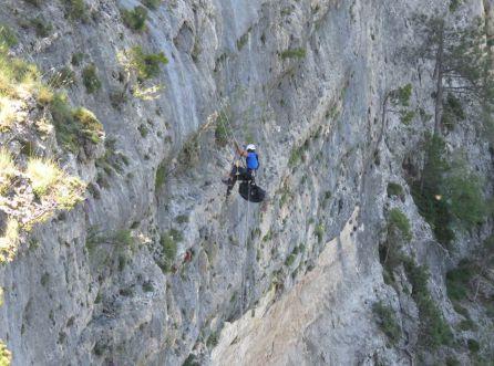 El escalador accede por los cortados hasta donde está el nido para cojer al quebratahuesos y llevarlo a la zona donde se encuentran los veterinarios y tecnicos de la fundación