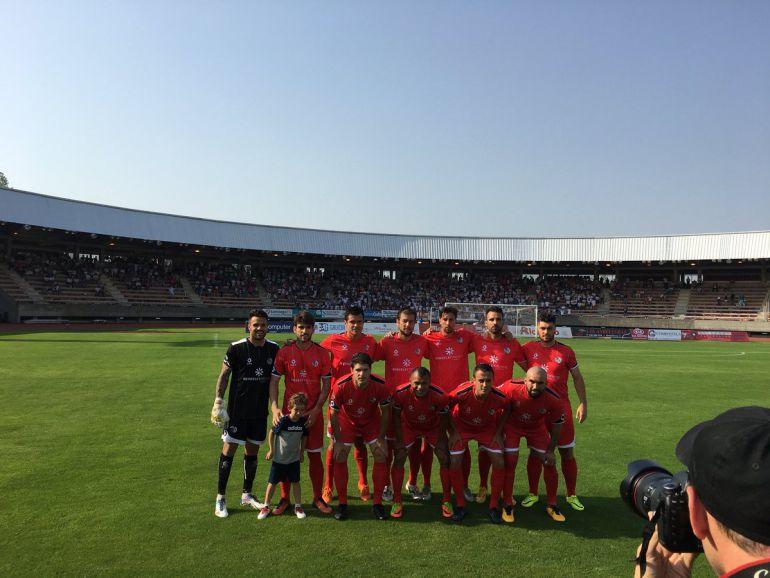 Imagen del CF Salmantino UDS antes de empezar el partido.