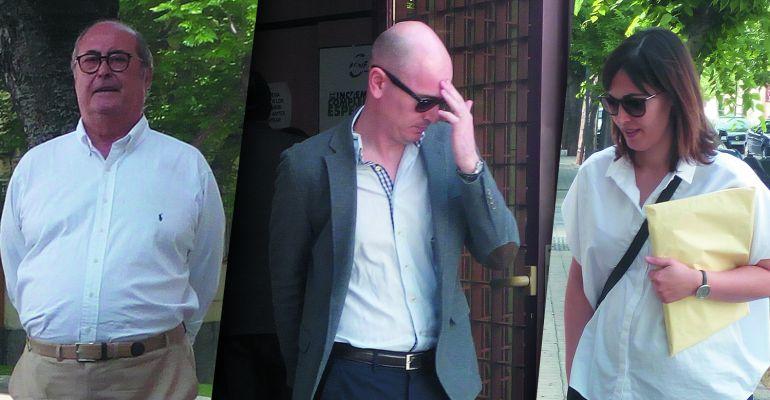 Las tres personas investigadas que han pasado por el Juzgado nº2 de Jaén este lunes, de izquierda a derecha: José Merino, Rodrigo García y Alicia Merino.