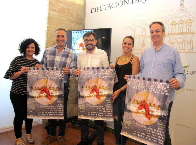 Mari Paz del Moral, Antonio J.Rodriguez, Juan Ángel Pérez, Nuria Serrano y Mario Olivares en la presentación del cartel de Cazorla Flamenca
