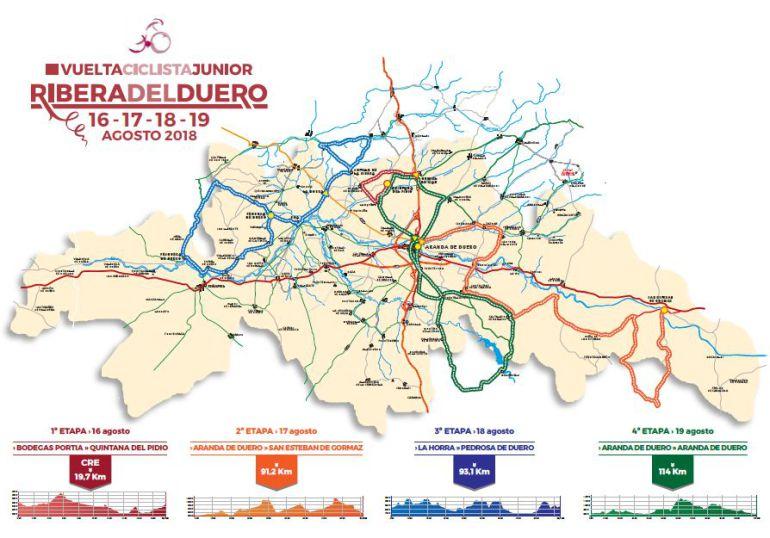 Mapa de las etapas de la III edición de la Vuelta a la Ribera del Duero.