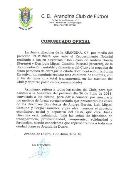 El comunicado de la entidad de El Montecillo.