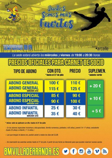 Cartel de la campaña de socios y sus precios.