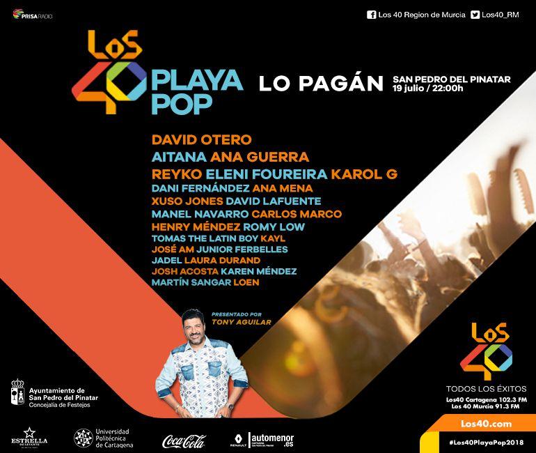 LOS40 Playa Pop llega hoy 19 de julio a Lo Pagán con David Otero ...