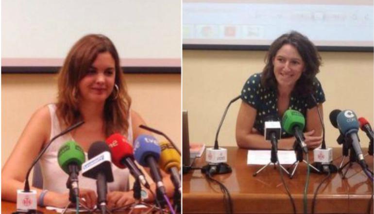 La portavoz socialista, Sandra Gómez, y la de València en Comú, María Oliver