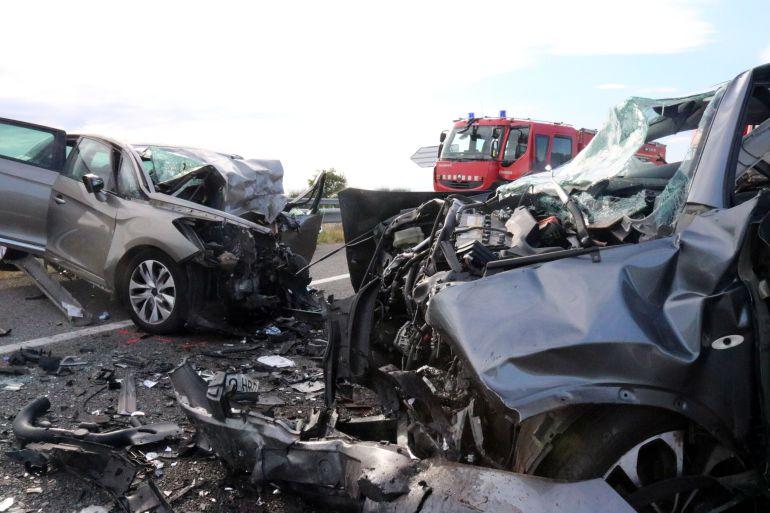 Imatge d'un accident de transit a Torroella de Fluvià el passat mes de juny
