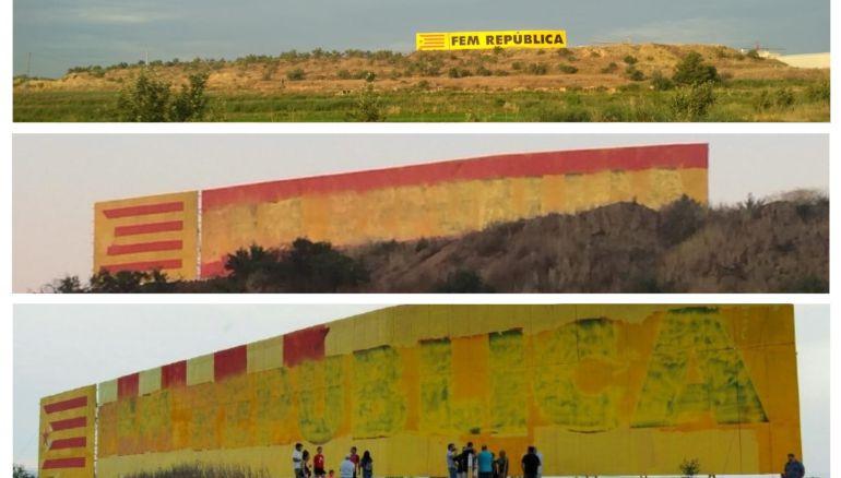 Seqüència de les imatges. Com era el mural del CDR de Bellpuig. L'estat en què va aparèixer dimecres. La repintada a posterior, el mateix dimecres, pel CDR.