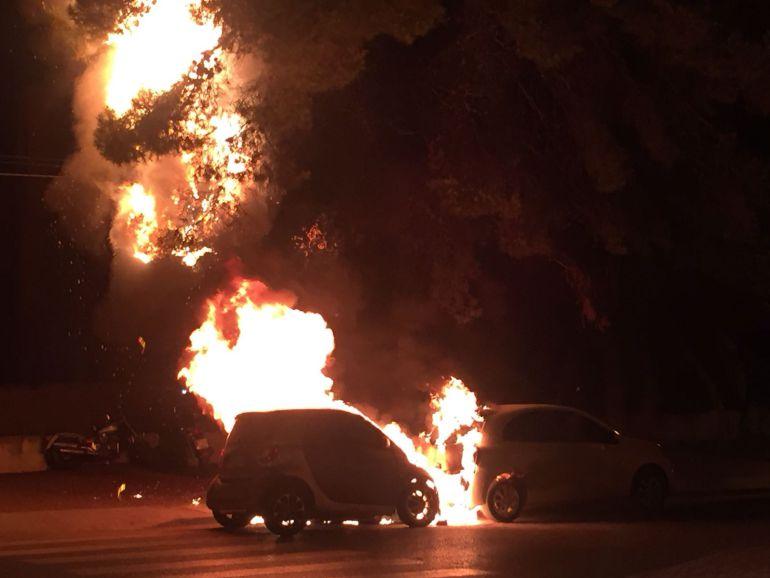 Un árbol cercano es afectado por las llamas