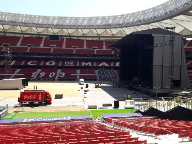 Panorámica del estadio Wanda Metropolitano durante los preparativos del concierto de Iron Maiden
