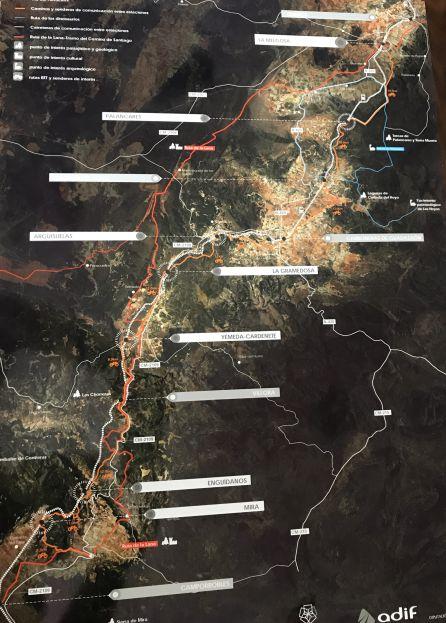 Mapa de la ruta ferroviaria de la Serranía Baja.