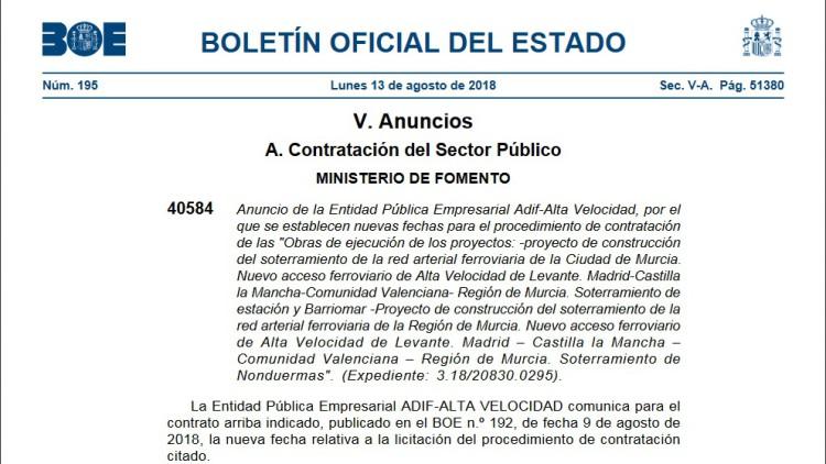 El BOE publica el anuncio de la contratación de las obras de soterramiento en Nonduermas