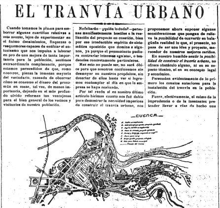 Plano del proyecto del tranvía de Cuenca publicado por el periódico El Centro en 1918.