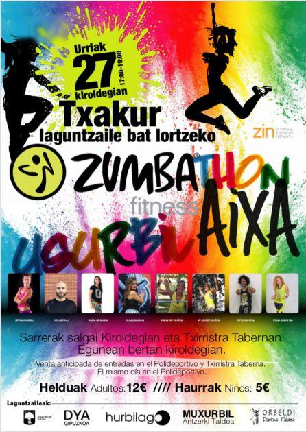 Imagen del cartel que anuncia el maratón solidario de Zumba