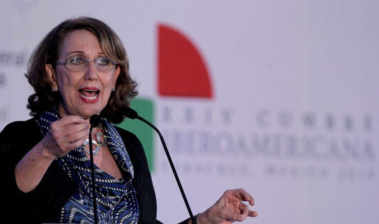 La secretaria general Iberoamericana, Rebeca Grynspan, habla durante el X Encuentro Empresarial Iberoamericano que arrancó este sábado