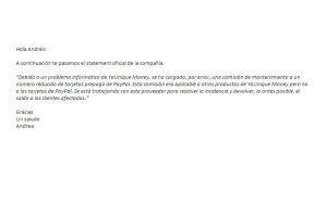 Statement oficial de PayPal sobre el cobro indebido en sus tarjetas
