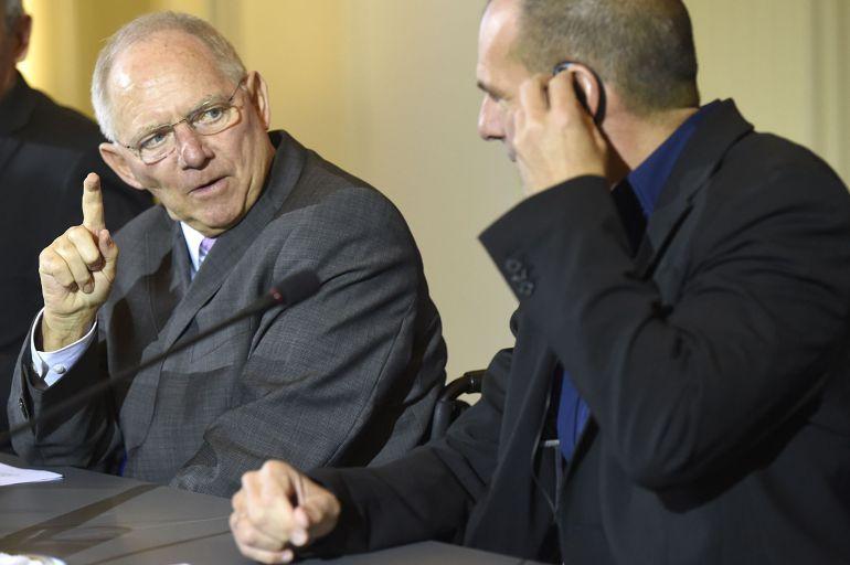 Yanis Varoufakis y Wolfgang Schaeuble.