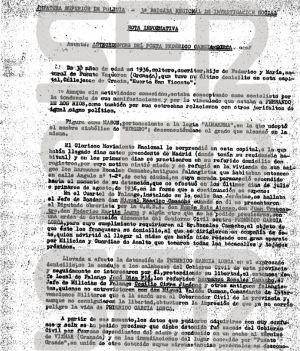 Informe sobre la muerte de Lorca