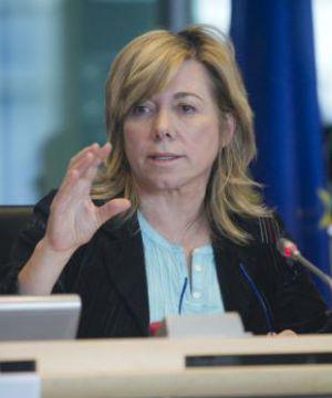 Pilar del Castillo durante una intervención en el Europarlamento