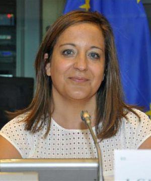 Iratxe García durante una intervención en el Europarlamento