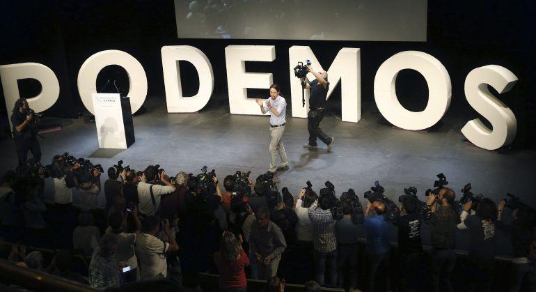 Pablo Iglesias durante un acto de Podemos