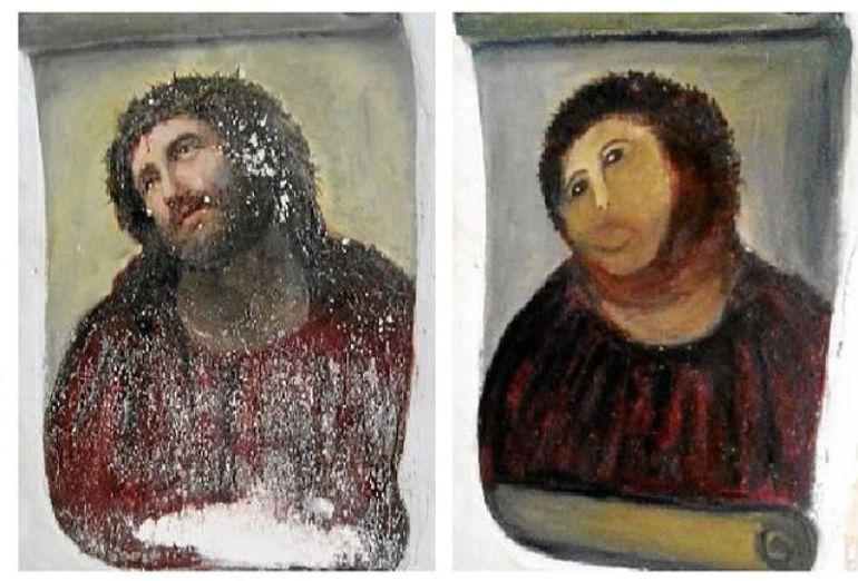 El Ecce Homo antes y después de la restauración de Cecilia