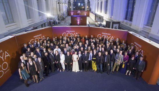 Fotografía facilitada por la Academia de Cine de la foto de familia de los nominados e invitados en la tradicional fiesta previa a la gala de los 30 Premios Goya, que se celebrará el próximo 6 de febrero