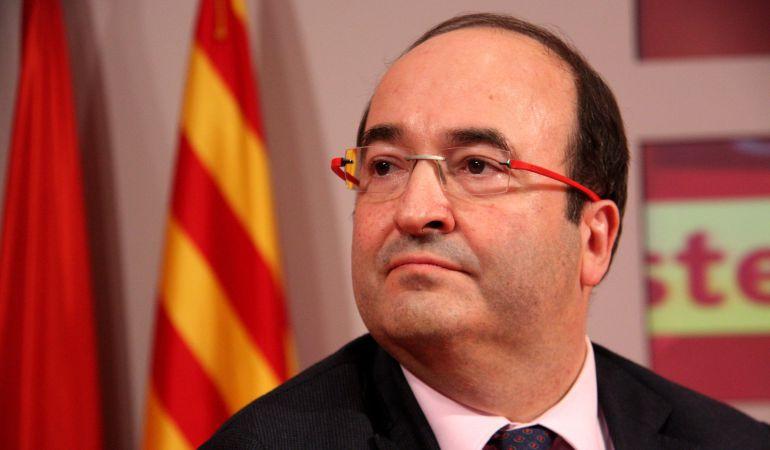 El primer secretario del PSC, Miquel Iceta, en la presentación del acuerdo con Ciudadanos el 26 de febrero de 2016.
