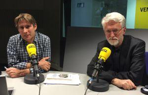 Javier del Pino y Jeff Jarvis en los estudios de Radio Madrid