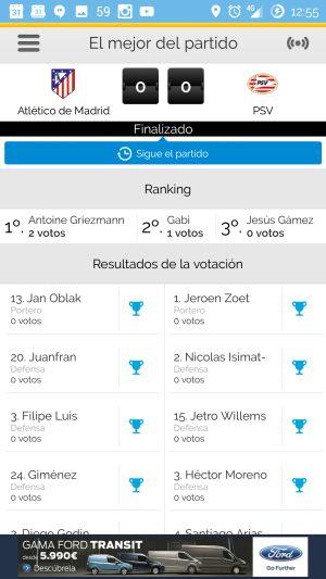 En la App de Carrusel puedes votar al mejor que cada partido.