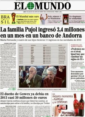 Portada de 'El Mundo' del 7 de julio de 2014.