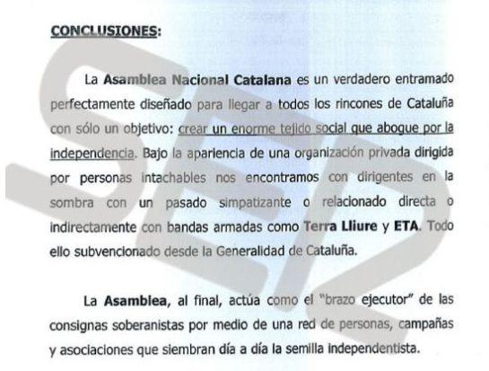 Las conclusiones del informe sobre Carme Forcadell y la Asamblea Nacional de Cataluña.