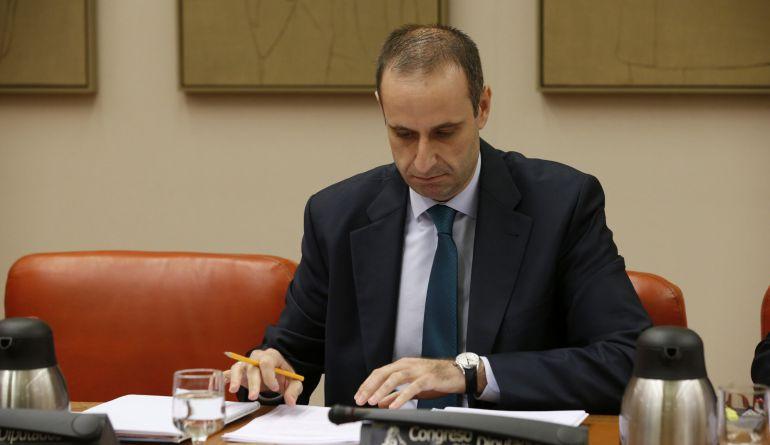 El presidente del FROB, Jaime Ponce, durante su comparecencia hoy ante la Comisión de Economía del Congreso después de que el Gobierno en funciones haya empezado a estudiar formalmente la posibilidad de que Bankia absorba BMN.