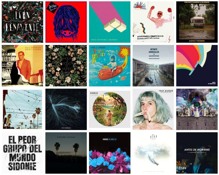 Las portadas de los discos donde están las 20 canciones seleccionadas