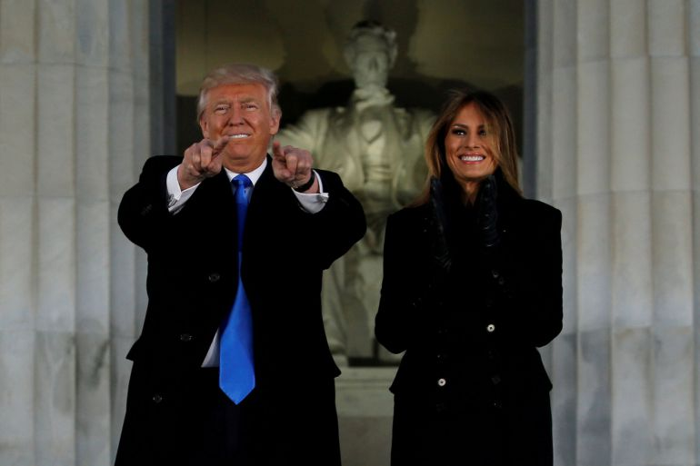 President-elect Donald Trump and his wife Melania take part in a Make America Great Again welcome concert at the Lincoln Memorial in Washington, U.S. January 19, 2017. REUTERS/Jonathan Ernst/File Photo