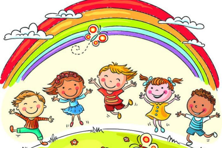 Ilustración de un grupo de niños en un prado rodeados de un arcoiris.