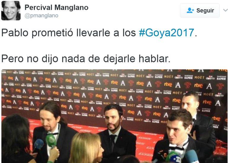 Mensaje de Percival Manglano en Twitter.