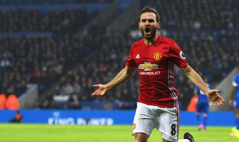 Mata celebra su gol ante el Leicester City