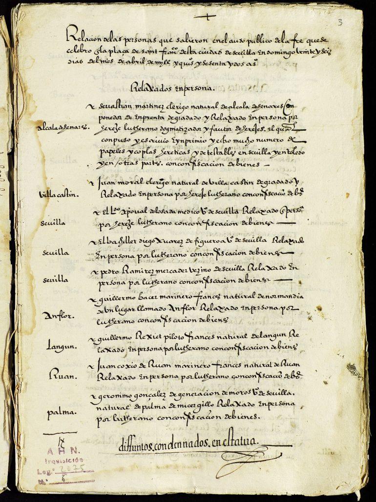Auto de fe celebrado en Sevilla en el que salió, entre otros, el famoso fraile que escribió la Biblia del Oso Casiodoro de Reina, natural de Montemolín (Badajoz).