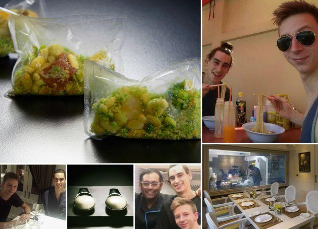 Montaje con platos de Gaggan y algunas fotos de Marc Pareda y Miguel de la Cruz en Bangkok, incluyendo un 'selfie' junto a Gaggan Anand.