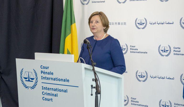 La presidenta de la Corte Penal Internacional, Silvia Fernández de Gurmendi, durante un acto en la sede de la Corte en la Haya