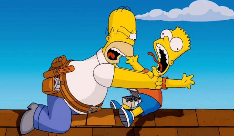 Imagen de Homer Simpson ahogando a su hijo Bart.