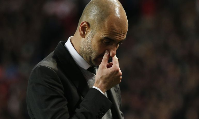 Guardiola abandona cabizbajo el estadio monegasco