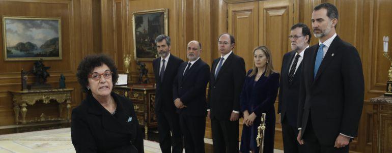 María Luisa Balaguer promete su cargo como nueva magistrada del Tribunal Constitucional.