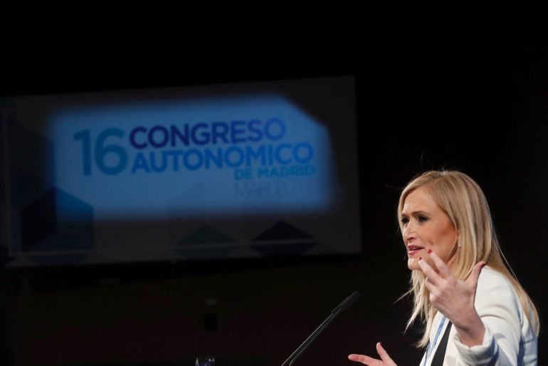La presidenta regional Cristina Cifuentes durante su intervención en el XVI Congreso del PP de Madrid