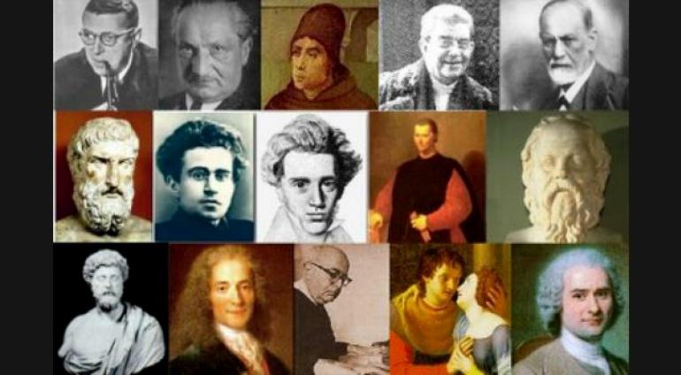 Montaje fotográfico con imágenes de los filósofos más notorios de la historia.