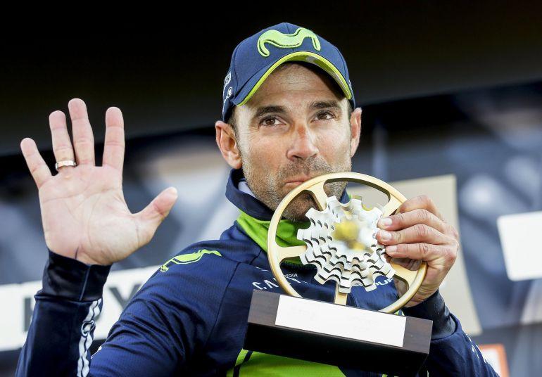 Valverde celebra su quinta Flecha Valona en el podio