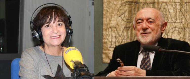 A la izquierda, Rosa Montero. A la derecha, Carlos García Gual. Candidatos a la silla 'M' de la Real Academia.