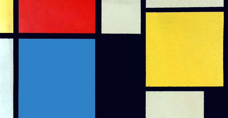 Composición con rojo, amarillo y azul.