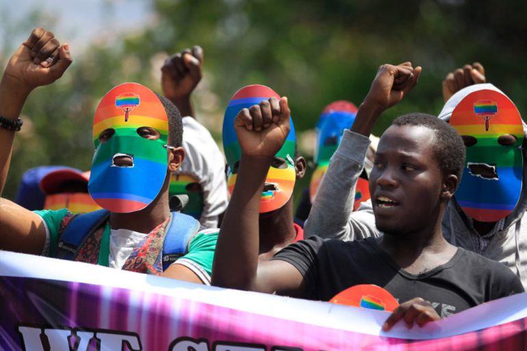 Protesta en Kenia contra la ley antihomosexual de Uganda.