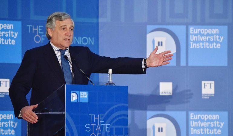 El presidente del Parlamento Europeo, Antonio Tajani, durante un discurso en Florencia